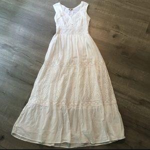 Magic Cottage Crochet White Cotton Eyelet Dress
